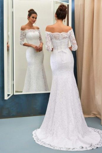 381915918ed Half Sleeves Bride Dress Lace Simple Sweep Train Off-the-shoulder Lace-up