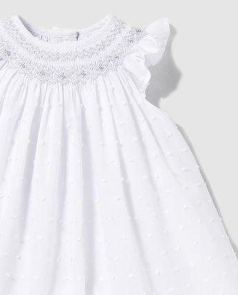 500e7b80d Vestido y braguita de niña bebé bordado al cuello. Ropa inf