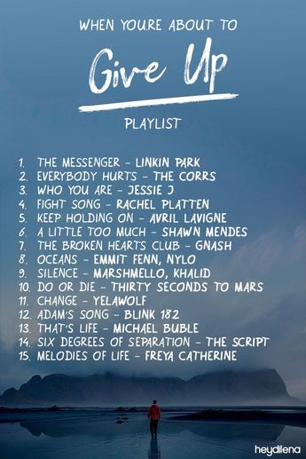 Playlist: When You're About to Give Up - #give #Playlist #youre