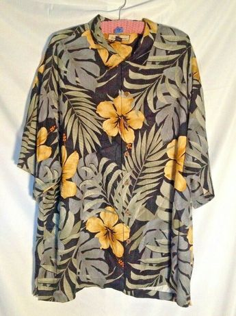 fb2e4a50 Tommy Bahama Mens Floral Hawaiian 100% Silk S/S Button Front Shirt Size 2XL