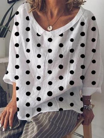 Cotton-Blend Long Sleeve Peter Pan Collar blouse