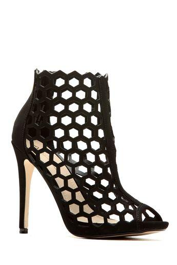 23f8308bb72 Black Faux Nubuck Cut Out Peep Toe Heels   Cicihot Heel Shoes online store  sales