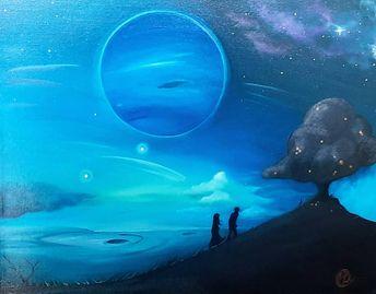 "Neptune. Acrylic on canvas. 20""x16"". 2012. #5centimeterspersecond #makotoshinkai #anime #film #fanart #fandom #skies #planet #nebula #cosmos #nightsky #acrylic #art #painting #artist #acrylicpainting #artwork #contemporaryart #modernart #canvas #gallery #artistoninstagram #artoftheday #colour #fineart #creative #artgallery #artistsoninstagram"
