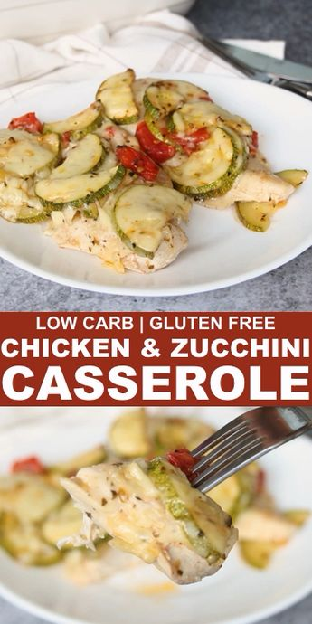 A delicious low carb baked chicken and zucchini casserole dish with tomatoes. It's made extra special with some mozzarella cheese melted on top. // low carb easy dinner // dinner recipes low carb // recipes for dinner low carb // recipes chicken dinner // zucchini recipes healthy // recipes with zucchini // #lowcarb #lowcarbrecipes #chicken #zucchini #glutenfree #lowcarbdinner