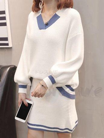 daeb9f531299c ファッション通販 #Fashion Doresuweニット長袖Vネックセーターおしゃれ切り替え配色スカートレディース