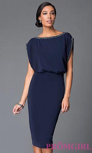 Midnight Blue Knee Length Blousong Top Dress at PromGirl.com