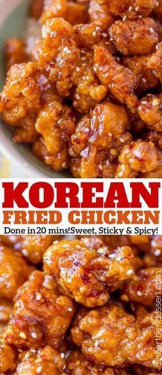 Crispy Korean Fried Chicken in a spicy, sweet glaze that is so crispy and sticky you'll coat everything in this sauce from wings to baked chicken breasts and more! | Baked Chicken Breast, Chicken Breasts, Baked Fried Chicken, Chicken Thighs, Korean Fried Chicken, Tandoori Chicken, Chinese Chicken, Asian Foods, Korean Food Recipes