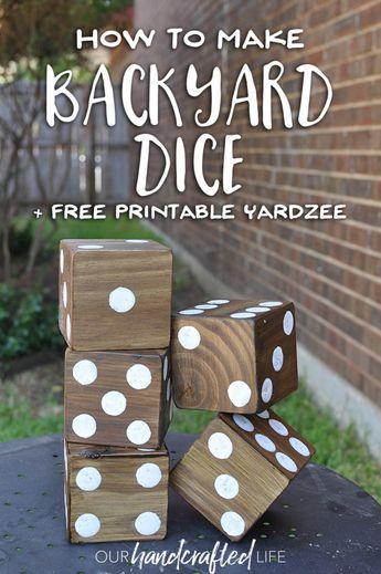 How to Make Giant Yard Dice + Free Printable Yardzee!