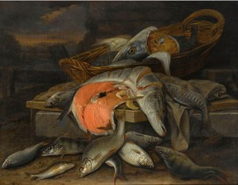 Jacob Gillig (Dutch, 1636-1701) Fish still life, oil on canvas, 60 x 77,1 cm. 1689.