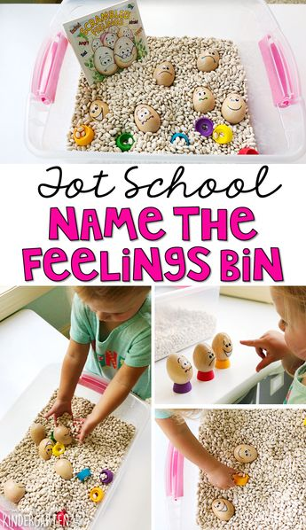 We LOVE this name the feelings sensory bin. Work on fine motor skills and identifying feelings. Great for an all about me theme in tot school, preschool, or even kindergarten!