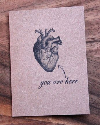 You Are Here (Anatomical Heart) Love Card. Happy Anniversary, Happy Birthday, Just Because, I Love You Card