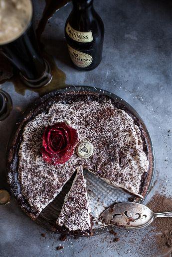 Drunken, Sunken Irish Coffee Chocolate Cake with Salted Bailey's Cream