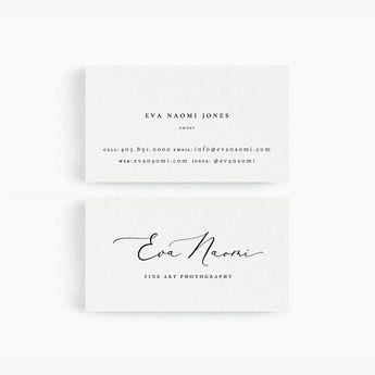 Eva: Business Card Template for Google Drive, Fine Art Photographer, Designer, Stylist, Wedding Business Cards, Minimalist, Instant Download