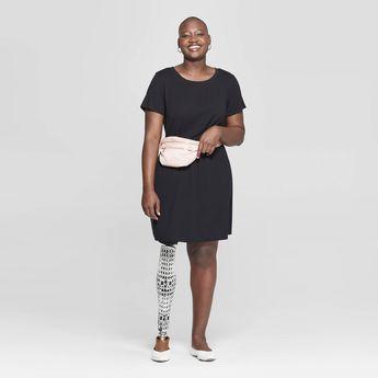 Women's Plus Size Short Sleeve Crewneck T-Shirt Dress - Ava & Viv Black X