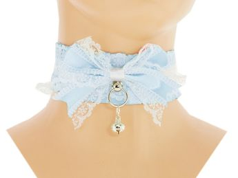 Ddlg Collar Blue Kitten Play Collar White Lace Satin Kitten Collar Pet Play Collar Choker Kittenplay