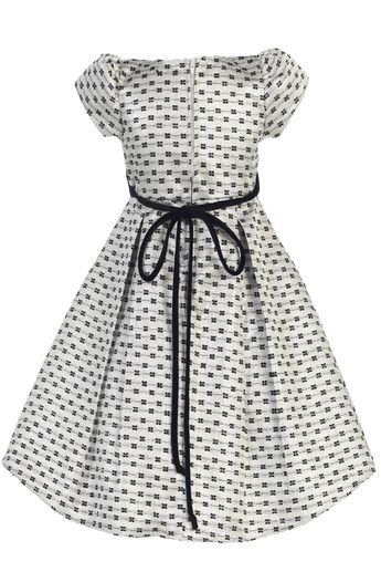 Silver Bow Design Jacquard Girls Pleated Holiday Dress w. Velvet Trim 6M-12