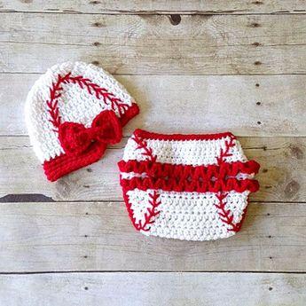 00e90810c8c Red Lollipop Boutique  theredlollipop. 3y 4. Crochet Baby Baseball Hat  Visor Beanie Newsboy Cap Girl Bow Ruffled Diaper Cover Ruffles Sports Set