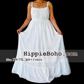 c515aabaf7b No.066 - Size XS-7X Tiered White Maxi Hippie Boho Gypsy Plus Size