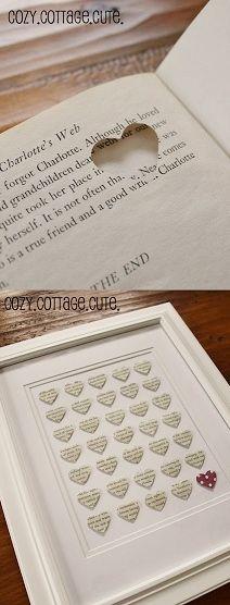 Cadre petits cœurs #diy... Recyclage d'un vieux livre