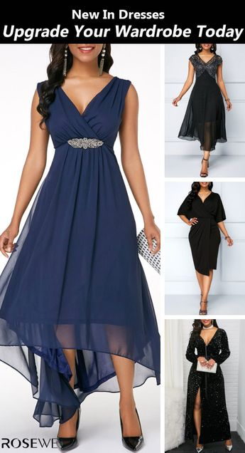 New arrivals are hitting the site just in time to freshen up your wardrobe! Free shipping & 30 days easy return at Rosewe.com #chiffon#wedding#navyblue#vneck#dress#sleeveless#formal#chic#fashion#springbreak