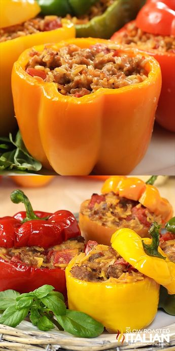 Cheesy Italian Stuffed Peppers start with cheesy Italian sausage, fire roasted tomatoes and orzo pasta. It only gets better from there. An easy recipe that goes from prep to plate in 30 minutes makes this one a keeper! #stuffedpeppers #30minutemeals