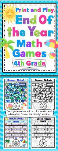 5th Grade Math Games 5th Grade Print And Play Math Games