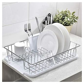 Black ESYLIFE Kitchen Dish Drainer Drying Rack with Drip