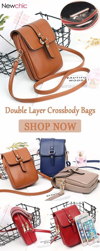 【US$ 16.57】Women Faux Leather Mini Phone Bags Double Layer Crossbody Bags #minibags #phonebags #crossbodybags