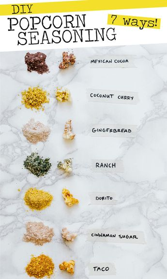 Making homemade popcorn seasoning is so easy. Today I'm showing you how to make 7 of my favorite DIY popcorn flavors, from herby ranch to dorito! Perfect as a flavor packed snack or for an easy holiday food gift. #popcorn #snack #healthyrecipes #healthysnacks #foodgifts #holidayrecipes #popcornrecipes // Live Eat Learn