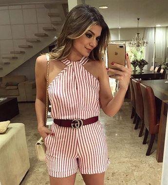 {Saturday ♥️} De @evabellaoficial  Macaquinho listrado a cara do verão! • #ootd #selfie #blogtrendalert - Blog Trend Alert (@arianecanovas)