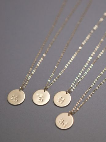 "A ""Stick Family"" Disk Necklace! Gift for Mothers, Sisters Grandmas or Best Friends Gift • Custom Personalized Disk Necklace • LN213"