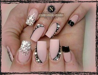 Nail design soft pink nude black set with Swarowski`s