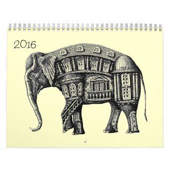 Ink pen drawings 2016 calendar | Zazzle.com