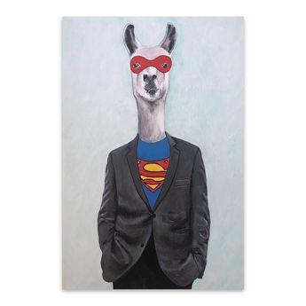 Noir Gallery Funny Lama Superman Painting Metal Wall Art Print (24 x 36), Multicolor(Aluminum)