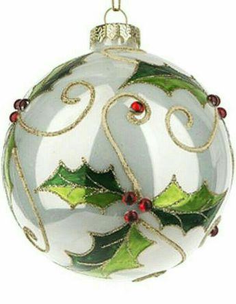 Holly Covered Glass Ornament