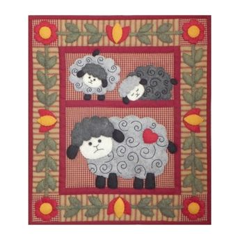 "e51502283 Twin Lambs Wall Quilt Kit 13"" x 15"""