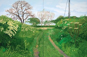 Woldgate Lane to Burton Agnes, 2007 oil on canvas, two panels, 48 x 72 in. David Hockney