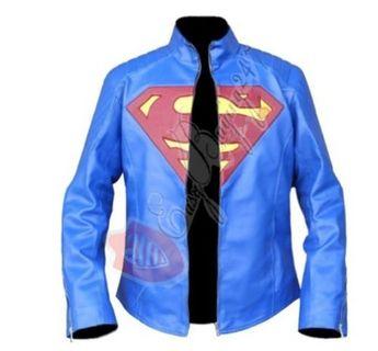 Blue Superman Movie Celebrity Red Logo Real Leather Jacket