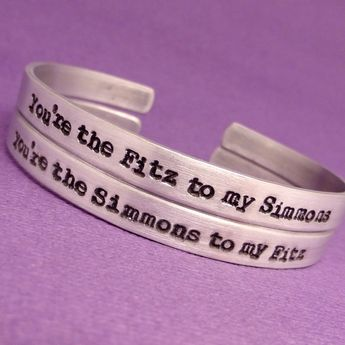 SHIELD Inspired - You're the Fitz to my Simmons & Simmons to my Fitz - A Set of 2 Hand Stamped Bracelets in Aluminum or Sterling Silver