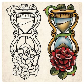 The line work for this hourglass design is from my tattoo line art sketch book (sold out). Lewis Ellaby got me to colour the design for him…