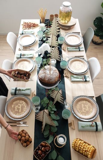 Décoration table de noël - inspiration scandinave - nordique - wood decoration table - green and nature christmas