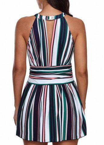 Striped Keyhole Back One Piece Swimdress | Rosewe.com - USD $30.84