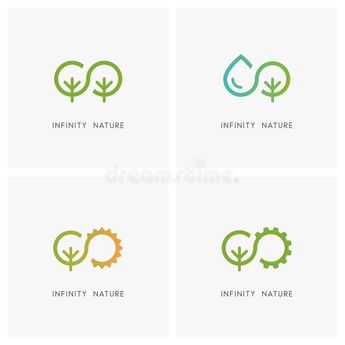 Photo about Infinity and nature logo set. Green tree drop of water the sun and gear wheel  ecology and environment agriculture and industry icons.