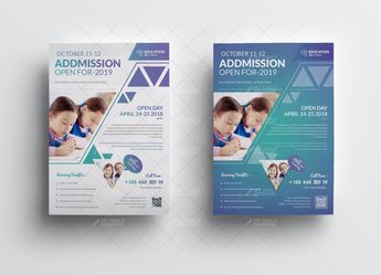 School Admission Flyer With QR Code - Graphic Design Templates