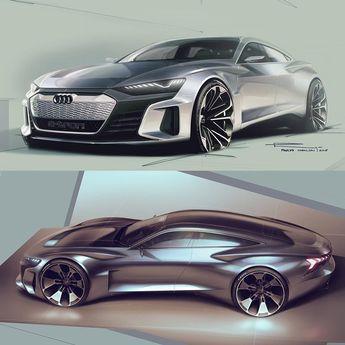 2018 e-tron GT Concept Official Sketches / Paris Cybulski, exterior designer at Audi