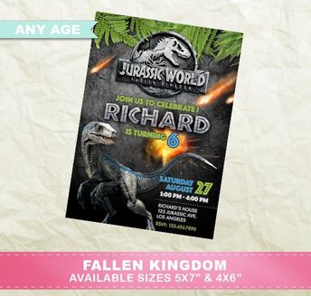 Jurassic World Fallen Kingdom Invitation Birthday Party Park Printable Invite