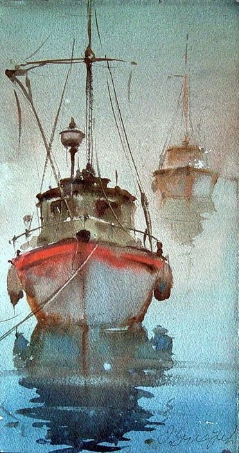 Dusan Djukaric, Morning in Norfolk, Watercolour, 25x45cm #watercolorarts