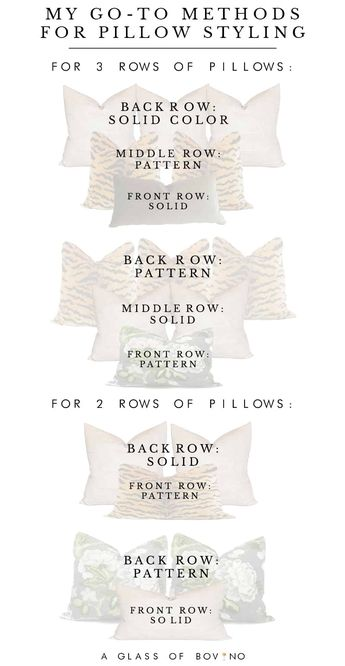 Throw pillow combinations, sizes and styles to use in your bedroom