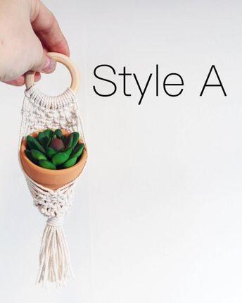 Mini macrame plant hanger | mini macrame | mini plant hanger | plant hanger | macrame | small macrame | car accessory | boho decor