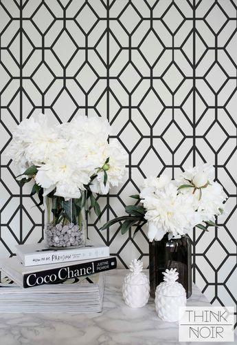 Dark Grey Geometric Wallpaper, Geometric Pattern Removable or Regular Wallpaper, Minimalistic Wall Mural